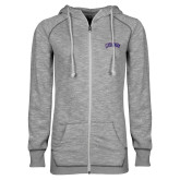 ENZA Ladies Grey/Black Marled Full Zip Hoodie-Catawba Primary Mark