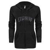 ENZA Ladies Black Light Weight Fleece Full Zip Hoodie-Catawba Primary Mark Graphite Soft Glitter