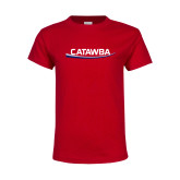 Youth Red T Shirt-Catawba with Swoop