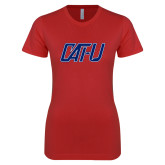 Next Level Ladies SoftStyle Junior Fitted Red Tee-Cat U