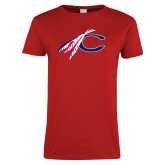 Ladies Red T Shirt-C with Feathers