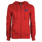 ENZA Ladies Red Fleece Full Zip Hoodie-Catawba Primary Mark