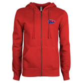 ENZA Ladies Red Fleece Full Zip Hoodie-Arrowhead
