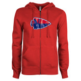 ENZA Ladies Red Fleece Full Zip Hoodie-Arrowhead