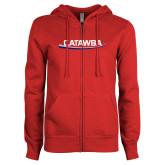 ENZA Ladies Red Fleece Full Zip Hoodie-Catawba with Swoop