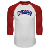 White/Red Raglan Baseball T-Shirt-Catawba Primary Mark