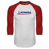 White/Red Raglan Baseball T-Shirt-Catawba with Swoop