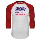 White/Red Raglan Baseball T-Shirt-Catawba Indians