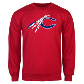Red Fleece Crew-C with Feathers