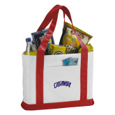 Contender White/Red Canvas Tote-Catawba Primary Mark