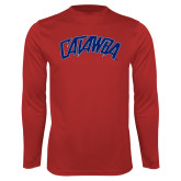 Performance Red Longsleeve Shirt-Catawba Primary Mark