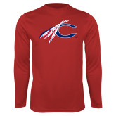 Catawaba Syntrel Performance Red Longsleeve Shirt-C with Feathers
