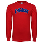 Red Long Sleeve T Shirt-Catawba Primary Mark