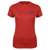 Ladies Syntrel Performance Red Tee-Catawba Primary Mark