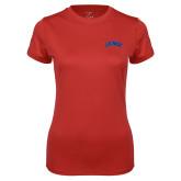 Ladies Syntrel Performance Red Tee-Catawba Primary Mark