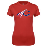 Catawaba Ladies Syntrel Performance Red Tee-C with Feathers