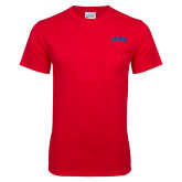 Red T Shirt w/Pocket-Catawba Primary Mark