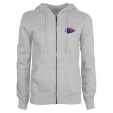 ENZA Ladies Grey Fleece Full Zip Hoodie-Arrowhead