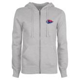 ENZA Ladies Grey Fleece Full Zip Hoodie-Arrowhead