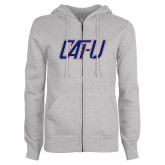 ENZA Ladies Grey Fleece Full Zip Hoodie-Cat U