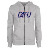 ENZA Ladies Grey Fleece Full Zip Hoodie-Cat U