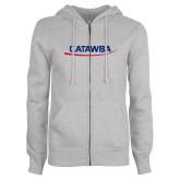 ENZA Ladies Grey Fleece Full Zip Hoodie-Catawba with Swoop