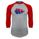 Grey/Red Raglan Baseball T Shirt-Arrowhead