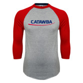 Grey/Red Raglan Baseball T Shirt-Catawba with Swoop