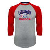 Grey/Red Raglan Baseball T-Shirt-Catawba Indians