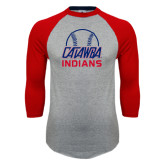 Grey/Red Raglan Baseball T-Shirt-Baseball on Top