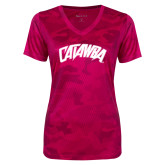 Ladies Pink Raspberry Camohex Performance Tee-Catawba Primary Mark