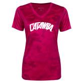 Ladies Pink Raspberry Camohex Performance Tee-Catawba Primary Mark