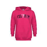 Youth Raspberry Fleece Hoodie-Catawba Primary Mark