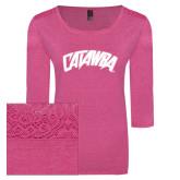 Ladies Dark Fuchsia Heather Tri Blend Lace 3/4 Sleeve Tee-Catawba Primary Mark
