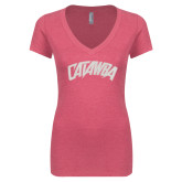 Next Level Ladies Vintage Pink Tri Blend V-Neck Tee-Catawba Primary Mark White Soft Glitter