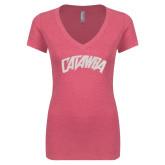Next Level Ladies Vintage Pink Tri Blend V-Neck Tee-Catawba Primary Mark White Soft Glitter