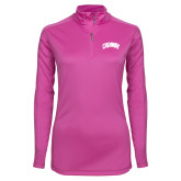 Ladies Syntrel Interlock Raspberry 1/4 Zip-Catawba Primary Mark