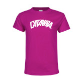 Youth Cyber Pink T Shirt-Catawba Primary Mark