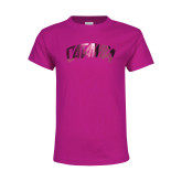 Youth Fuchsia T-Shirt-Catawba Primary Mark