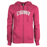 ENZA Ladies Fuchsia Fleece Full Zip Hoodie-Catawba Primary Mark White Soft Glitter