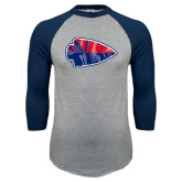 Grey/Navy Raglan Baseball T Shirt-Arrowhead