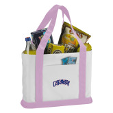 Contender White/Pink Canvas Tote-Catawba Primary Mark