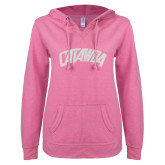 ENZA Ladies Hot Pink V Notch Raw Edge Fleece Hoodie-Catawba Primary Mark White Soft Glitter