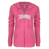 ENZA Ladies Hot Pink Light Weight Fleece Full Zip Hoodie-Catawba Primary Mark White Soft Glitter
