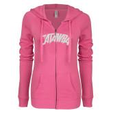ENZA Ladies Hot Pink Light Weight Fleece Full Zip Hoodie-Catawba Primary Mark White Soft Glitter