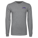 Grey Long Sleeve T Shirt-Catawba Primary Mark