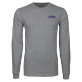 Grey Long Sleeve T Shirt-Catawba Primary Mark