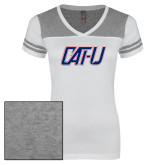 Ladies White/Heathered Nickel Juniors Varsity V Neck Tee-Cat U