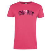 Ladies Fuchsia T Shirt-Catawba Primary Mark