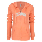 ENZA Ladies Coral Light Weight Fleece Full Zip Hoodie-Catawba Primary Mark White Soft Glitter